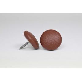 Bouton à clou recouvert de simili cuir brun