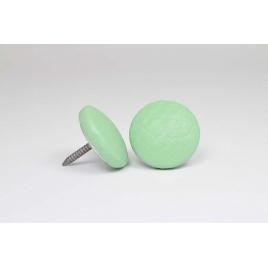 Bouton à clou recouvert de simili cuir vert menthe