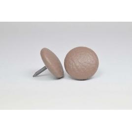 Bouton à clou recouvert de simili cuir taupe