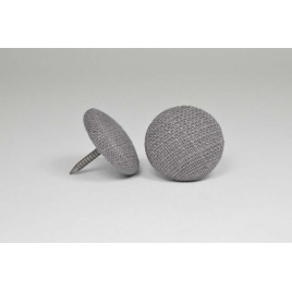 Bouton à clou recouvert de lin gris