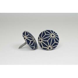 Bouton à clou recouvert de tissu saki bleu et beige