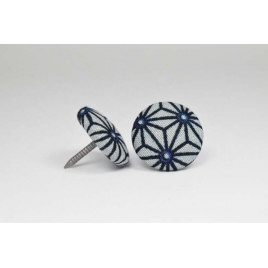 Bouton à clou recouvert de tissu saki gris et bleu