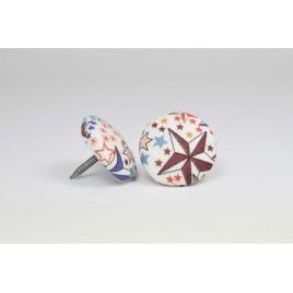 Bouton à clou recouvert de tissu Liberty Adelajda terracotta