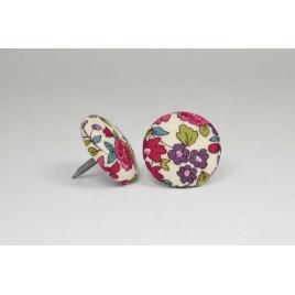 Bouton à clou recouvert de tissu Liberty Frou Frou bordeaux glamour