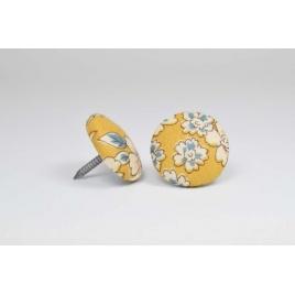 Bouton à clou recouvert de tissu Liberty Frrou Frou poussière d'or