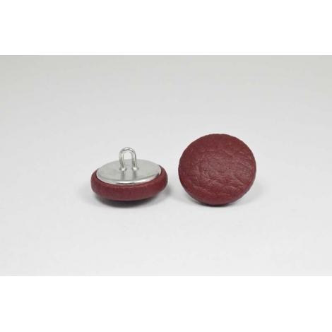 Bouton à anneau recouvert de simili cuir cerise
