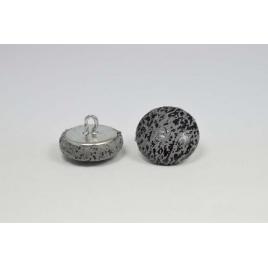 Bouton à anneau recouvert de simili cuir vieilli gris acier
