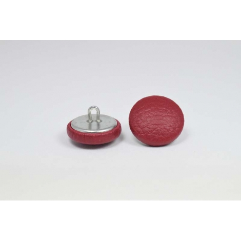 Bouton à anneau recouvert de simili cuir bordeaux