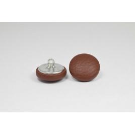 Bouton à anneau recouvert de simili cuir brun
