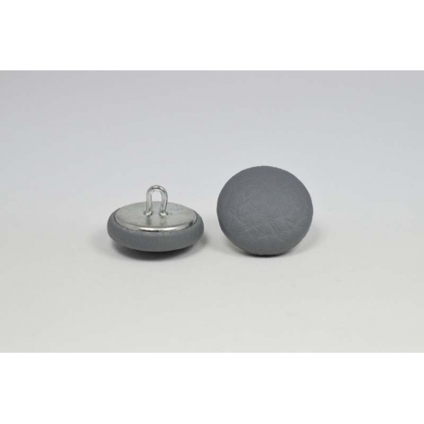 Bouton à anneau recouvert de simili cuir gris