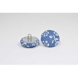 Bouton à anneau recouvert de jean fleuri