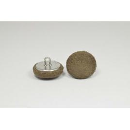 Bouton à anneau recouvert de suédine marron