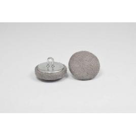Bouton à anneau recouvert de suédine taupe