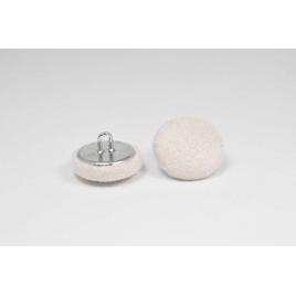 Bouton à anneau recouvert de suédine écru