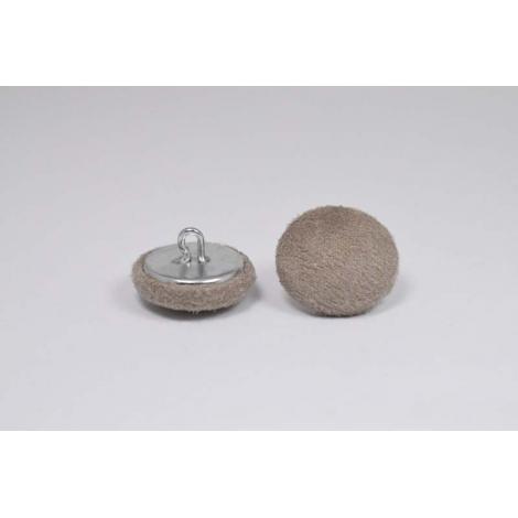 Bouton à anneau recouvert de suédine beige