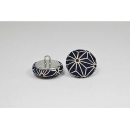 Bouton à anneau recouvert de tissu saki bleu et beige