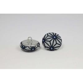 Bouton à anneau recouvert de tissu saki gris et bleu