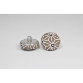 Bouton à anneau recouvert de tissu saki beige et blanc