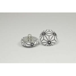 Bouton à anneau recouvert de tissu saki blanc et gris