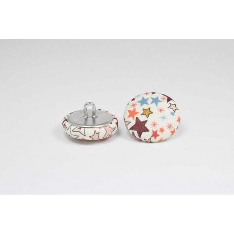 Bouton à anneau recouvert de tissu Liberty Adelajda terracotta