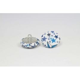 Bouton à anneau recouvert de tissu Liberty Adelajda bleu