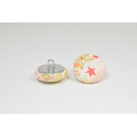 Bouton à anneau recouvert de tissu Liberty Adelajda pèche