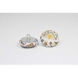 Bouton à anneau recouvert de tissu Liberty Adelajda marron