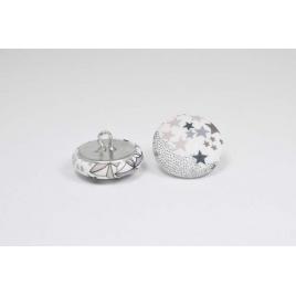 Bouton à anneau recouvert de tissu Liberty Adelajda greige/bleu