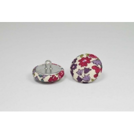 Bouton à anneau recouvert de tissu Liberty Frou frou bordeaux glamour