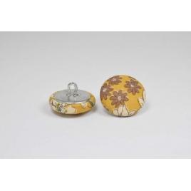 Bouton à anneau recouvert de tissu Liberty Frou frou poussière d'or