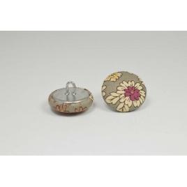 Bouton à anneau recouvert de tissu Liberty Frou frou pierre