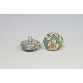 Bouton à anneau recouvert de tissu Liberty Frou frou eucalyptus