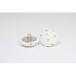 Bouton à anneau recouvert de tissu blanc et doré