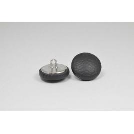 Bouton à anneau recouvert de simili cuir gris anthracite