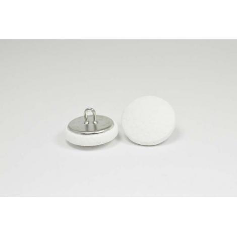 Bouton à anneau recouvert de simili cuir blanc