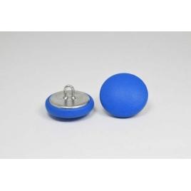 Bouton à anneau recouvert de cuir de veau bleu électrique