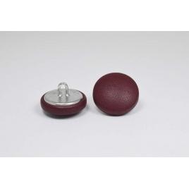 Bouton à anneau recouvert de cuir de veau bordeaux