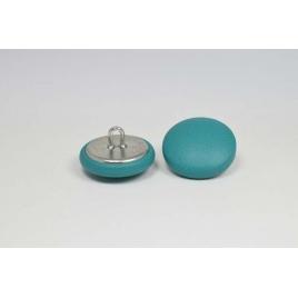 Bouton à anneau recouvert de cuir de veau bleu colvert