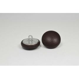 Bouton à anneau recouvert de cuir de veau ébène