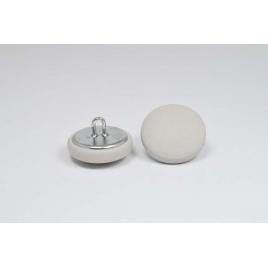 Bouton à anneau recouvert de cuir de veau gris perle