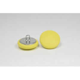Bouton à anneau recouvert de cuir de veau jaune citron