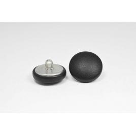 Bouton à anneau recouvert de cuir de veau noir