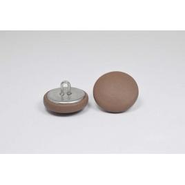 Bouton à anneau recouvert de cuir de veau taupe