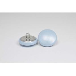 Bouton à anneau recouvert de cuir de vachette lisse bleu ciel nacré