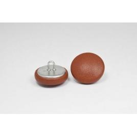 Bouton à anneau recouvert de cuir de vachette lisse marron