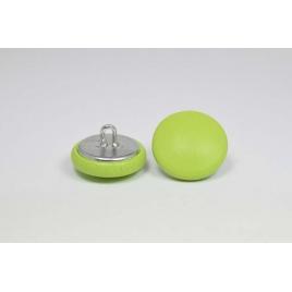 Bouton à anneau recouvert de cuir de vachette lisse vert pomme