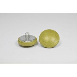 Bouton à anneau recouvert de cuir de vachette lisse vert olive