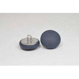 Bouton à anneau recouvert de cuir de vachette nubuck bleu marine