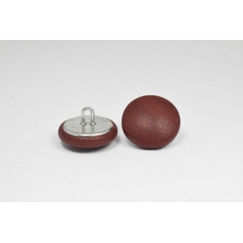 Bouton à anneau recouvert de cuir de veau bordeaux brossé