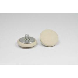 Bouton à anneau recouvert de cuir de veau lisse beige